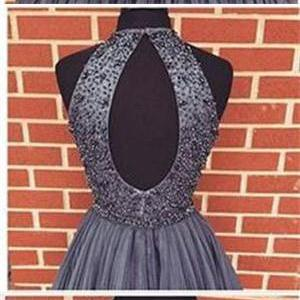 Short Hoemcoming Dresses,Gray Beaded Tulle A-line Homecoming Dresses,Homecoming Dresses,Homecoming Dresses,For Teens,Open Back Homecoming Dresses,Cute Dresses,Sweet 16 Dresses,Simple Cheap Modest Prom Dresses,Party Dresses,Short Prom Dresses DR0254