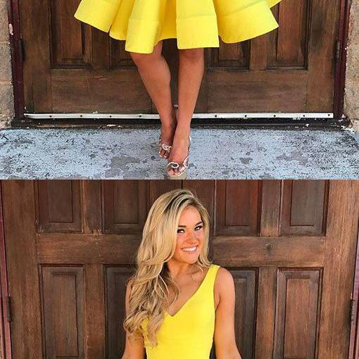 V-neck Homecoming Dresses,Yellow Homecoming Dresses,Homecoming Dress,Homecoming Dresses,Summer Dresses,Short Homecoming Dresses,Simple Cheap Hoemcoming Dresses,Cocktail Dresses,Modest Party Dresses,Cute Dresses DR0256