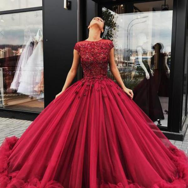Ball Gown Cap Sleeves Prom Dresses,Red Tulle High Neck Quinceanera Dresses,Lace Appliques Sequins Long Evening Dresses,Prom Dresses DC18