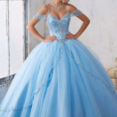 New Style Quinceanera Dresses,Beaded Tulle Ball Gown Prom Dresses,Blue Off the Shoulder Lace up Sweetheart Prom Gowns,Prom Dresses DC169