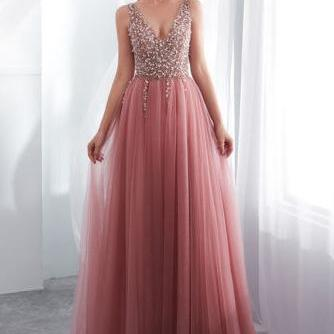 A Line Long Tulle V Neck Prom Dresses,Beads Lace up High Slit Evening Dresses,Long Cheap Party Dresses,Prom Dresses DC170
