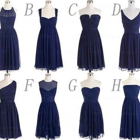Simple Cheap Bridesmaid Dresses,Navy Blue Bridesmaids Dresses,Chiffon Bridesmaid Dresses,Short Custom Made Bridesmaid Dresses