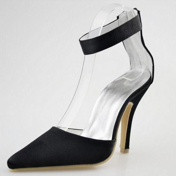 Black Satin Point Chose Toe, Party Shoes High Thin Heels, Women Prom Pumps,Sexy Heels Shoes,wedding shoes