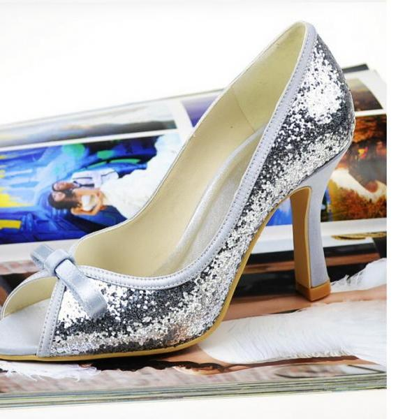 New Design Peep Toe Thin Heels Silvery Sequins Lace Prom Shoes Woman High Heel Shoes,wedding shoes