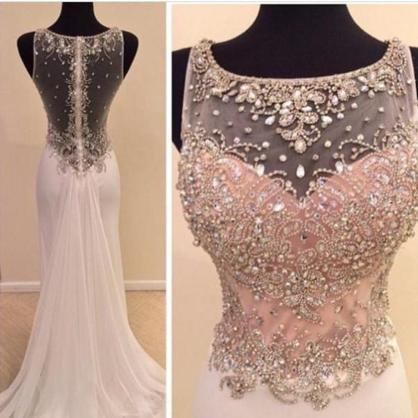 Real Made Beads Prom Dresses, Charming Floor-Length Prom Dresses, Sexy O-Neck Prom Dresses, A-Line Sequins Prom Dresses, Charming Backless Evening Dresses, Evening Dresses DR0411