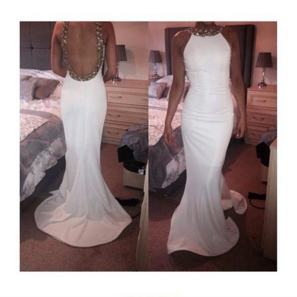Custom Made Sheath Backless Prom Dresses, White Backless Party Dresses, White Formal Dresses,Crystal Prom Dresses
