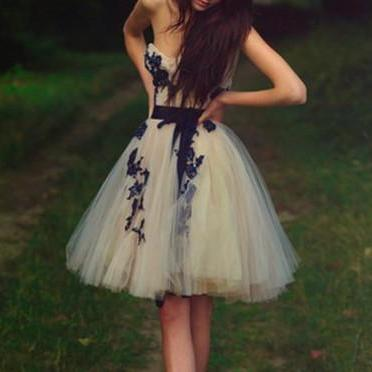 Appliques Graduation Dresses,Sweetheart Knee-Length Homecoming Dresses, Real Made Evening Dresses,Tulle Evening Dresses, Charming Prom Dresses,Graduations Dresses On Sale