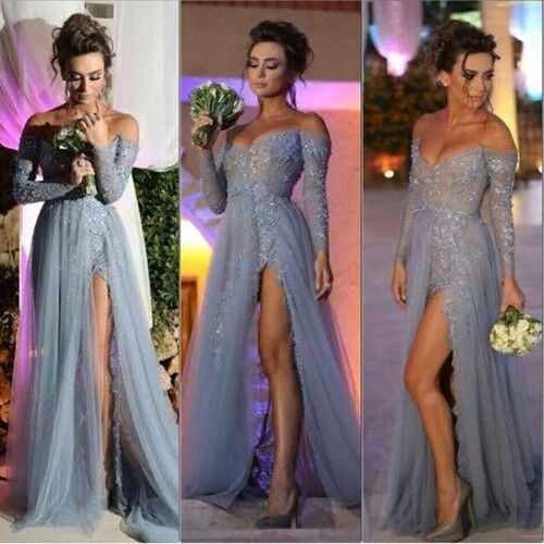 Long Sleevs Lace Prom Dresses,Front Split Prom Dress,Long Evening Dresses,Dasty Blue Prom Gowns On Sale