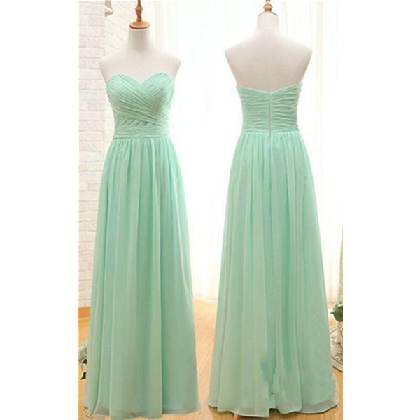 Cheap Simple Long Bridesmaid Dresses,Mint Sweetheart Open Back Bridesmaids Dresses On Sale