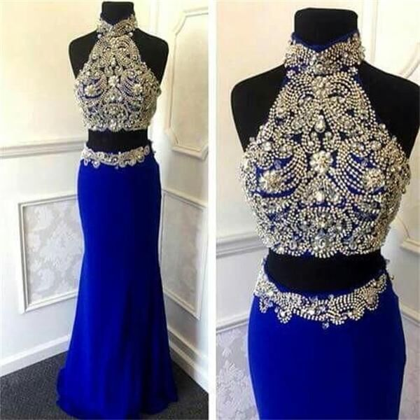 Hot Sales Two Pieces Long Sheath Royal Blue Beaded Prom Dresses,Sexy Evening Dresses,Charming Party Prom Dresses,Prom Gowns,Party Dresses