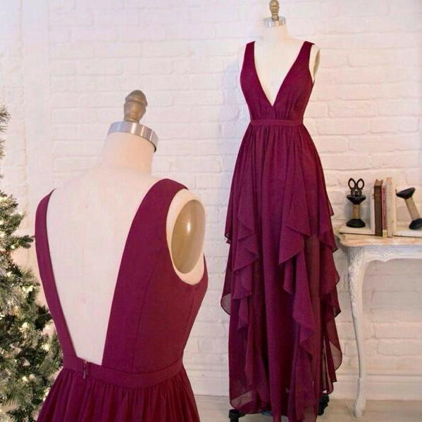 Bridesmaid Dresses,Real Sexy Long Chiffon Burgundy Prom Dresses,Deep V-neck Prom Dress,Open Back Evening Dresses,Simple Cheap Long Prom Gowns On Sale