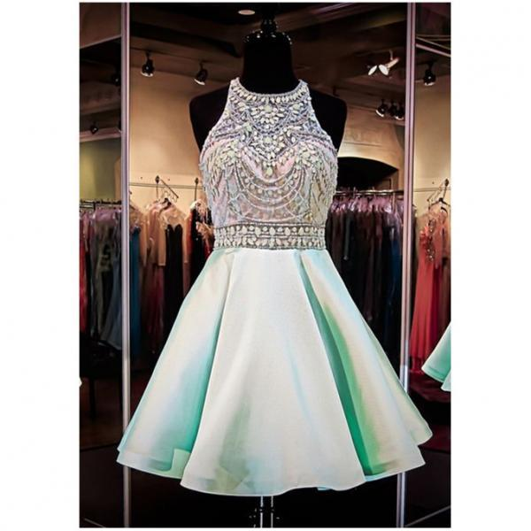 Newest Mint Beaded Homecoming Dresses,Real Beauty Short Prom Dresses,Halter Graduation Dresses,Cheap Dresses 2016