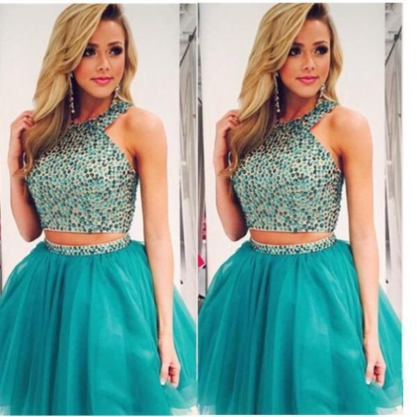 2016 Two Pieces Beaded Homecoming Dresses,Cheap Custom Made Short Prom Dresses,Charming Cocktail Dresses,Party Dresses