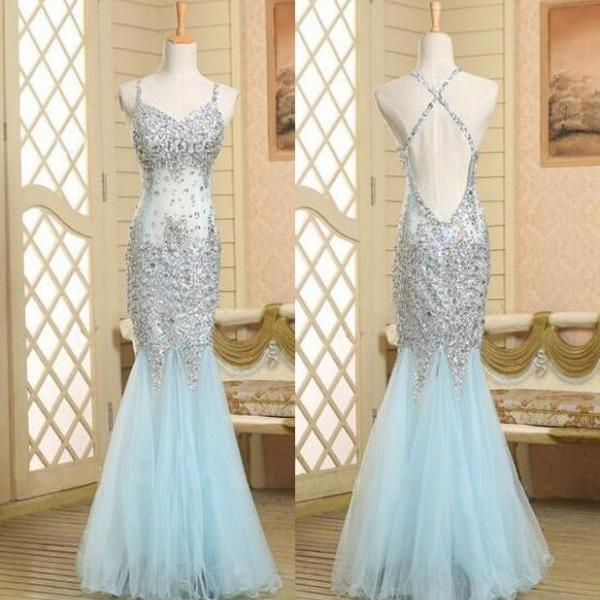 2016 Real Beautiful Backless Long Prom Dresses,Sequin Shiny Mermaid Charming Prom Dress,Evening Gowns