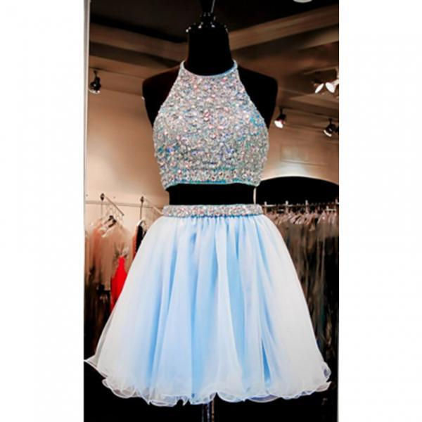 2016 Beautiful Short Prom Dresses,Light Sky Blue Homecoming Dresses,Two Pieces Cocktail Dresses,Backless Graduation Dresses For Teens