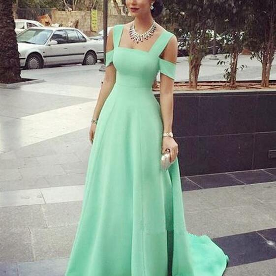 Cute Simple Elegant Prom Dresses,A-line Long Mint Prom Gowns,2016 Hnamdmade Party Prom Dresses