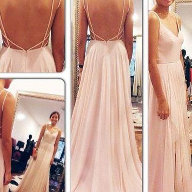 Simple Pink Handmade Prom Dresses,Prom Gowns,Prom Dress 2016,Simple Cheap Chiffom Party Prom Dresses