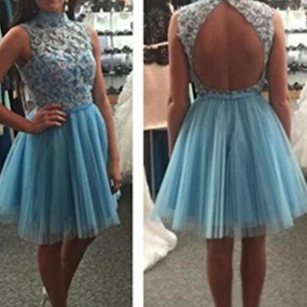 Light Blue Short High Neck Lace Beaded Open Back Tulle Cute Elegant Homecoming Dresses,Cocktail Dresses