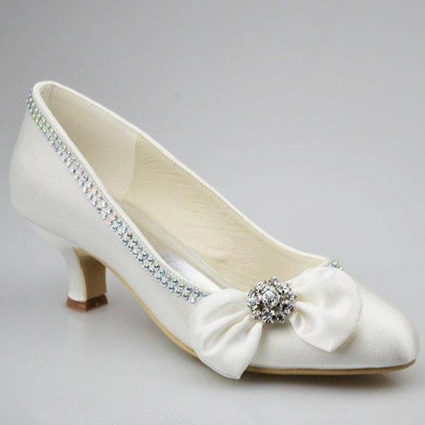 Low Heel Ivory Shoes,Simple Beading Wedding Shoes,Party Shoes,Comfortable Shoes