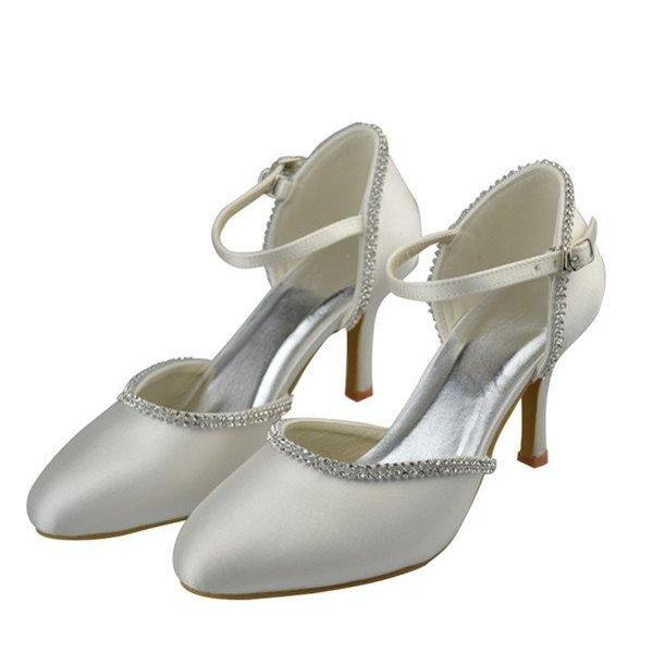 Ivory High Heel Beaded Shoes,Ankle Strap Satin Shoes,Evening Party Shoes,Cute Shoes