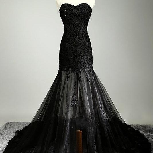Mermaid Long Strapless Prom Dresses,Black Lace Prom Gowns,Charming Evening Dresses,Formal Party Dresses