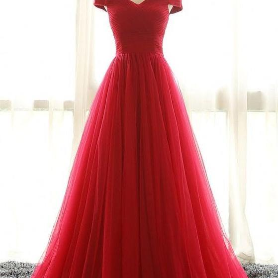 Red Off Shoulder Long Evenig Dresses,Graduation Dresses,Simpe Cheap Long Prom Gowns,Prom Dresses For Teens