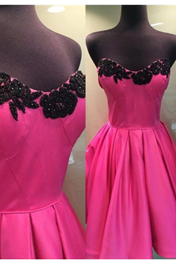 Hot Pink Skirt And Black Lace Simple Homecoming Dressessweetheart